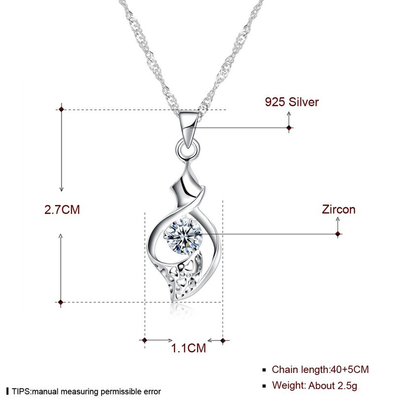 Wholesale New Fashion 925 Sterling Silver CZ Necklace TGSSN079 4