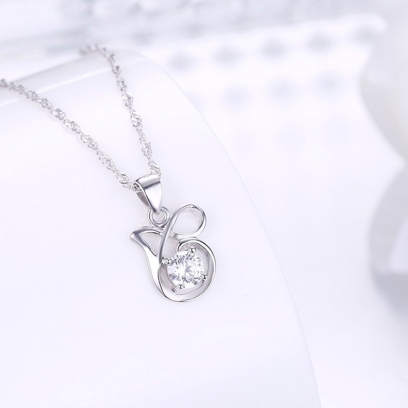 Wholesale Best Quality 925 Sterling Silver CZ Necklace TGSSN083 1