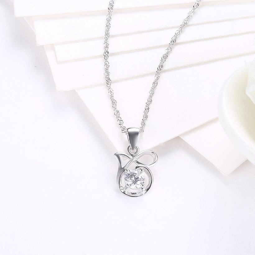 Wholesale Best Quality 925 Sterling Silver CZ Necklace TGSSN083 2