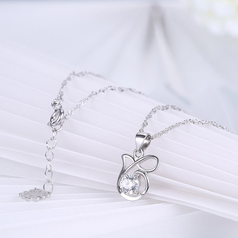 Wholesale Best Quality 925 Sterling Silver CZ Necklace TGSSN083 3