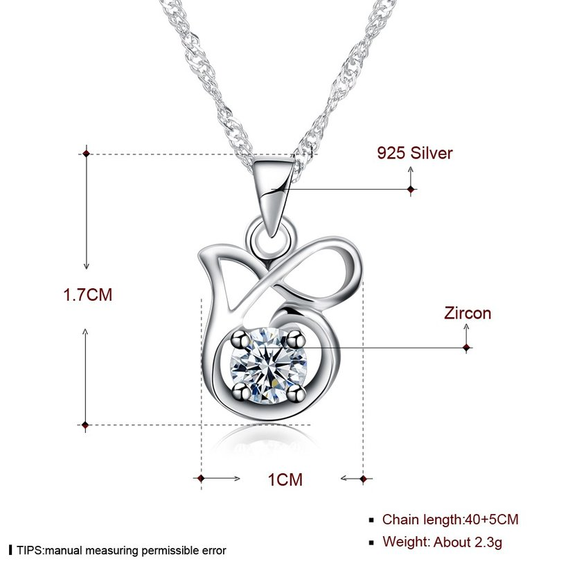 Wholesale Best Quality 925 Sterling Silver CZ Necklace TGSSN083 4