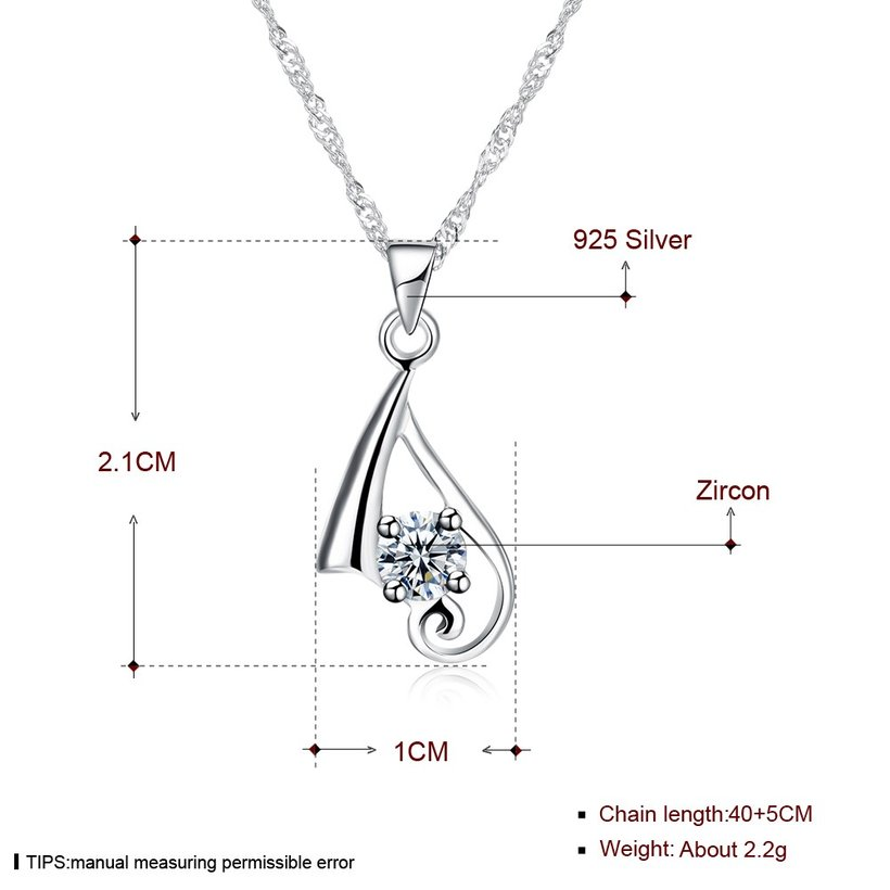 Wholesale New Fashion 925 Sterling Silver CZ Necklace TGSSN084 4