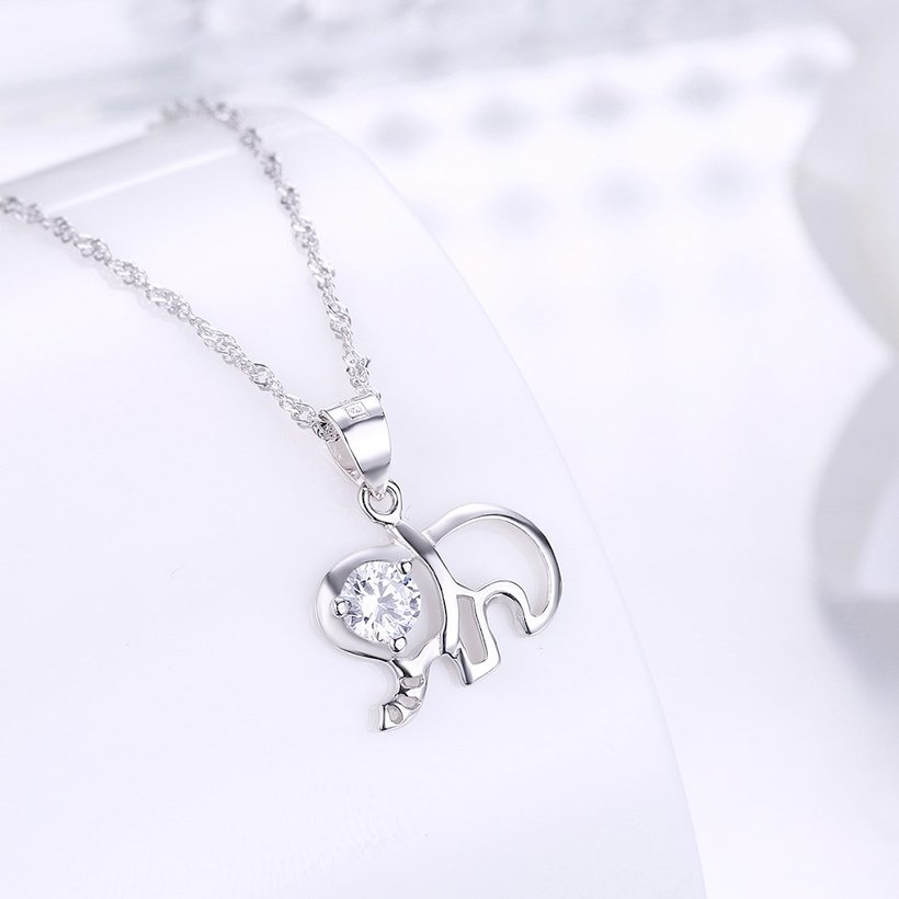 Wholesale Fashion 925 Sterling Silver Elephant CZ Necklace TGSSN003 1