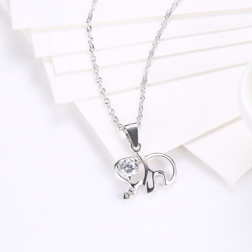 Wholesale Fashion 925 Sterling Silver Elephant CZ Necklace TGSSN003 2
