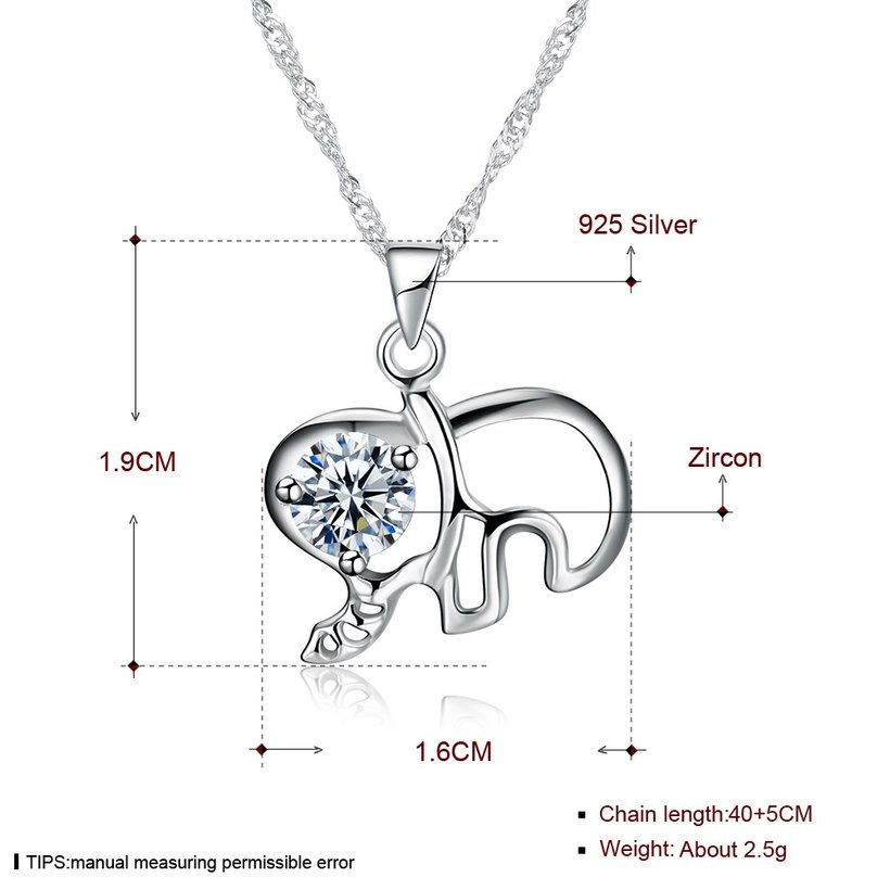 Wholesale Fashion 925 Sterling Silver Elephant CZ Necklace TGSSN003 4