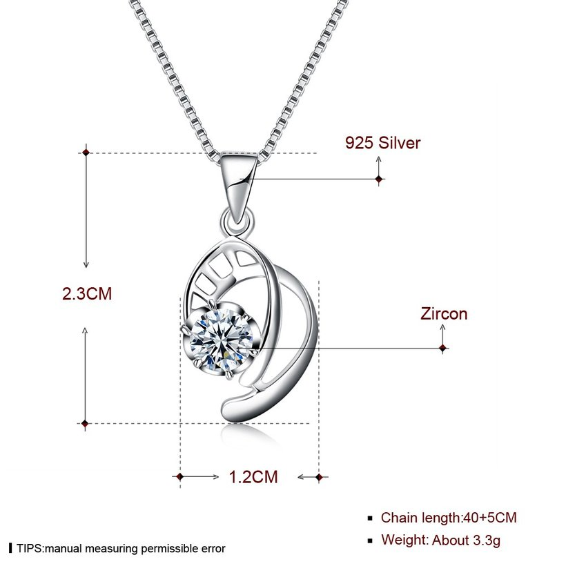 Wholesale 2018 New Style 925 Sterling Silver CZ Necklace TGSSN087 4