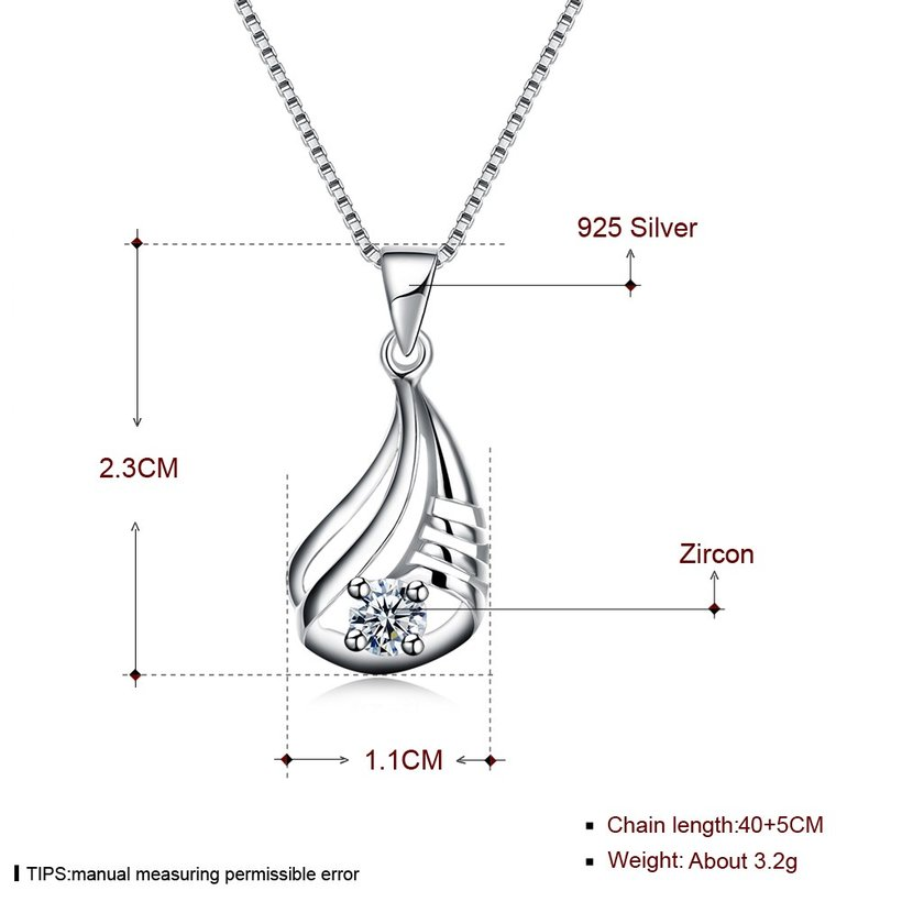 Wholesale Discount Fashion 925 Sterling Silver CZ Necklace TGSSN090 4