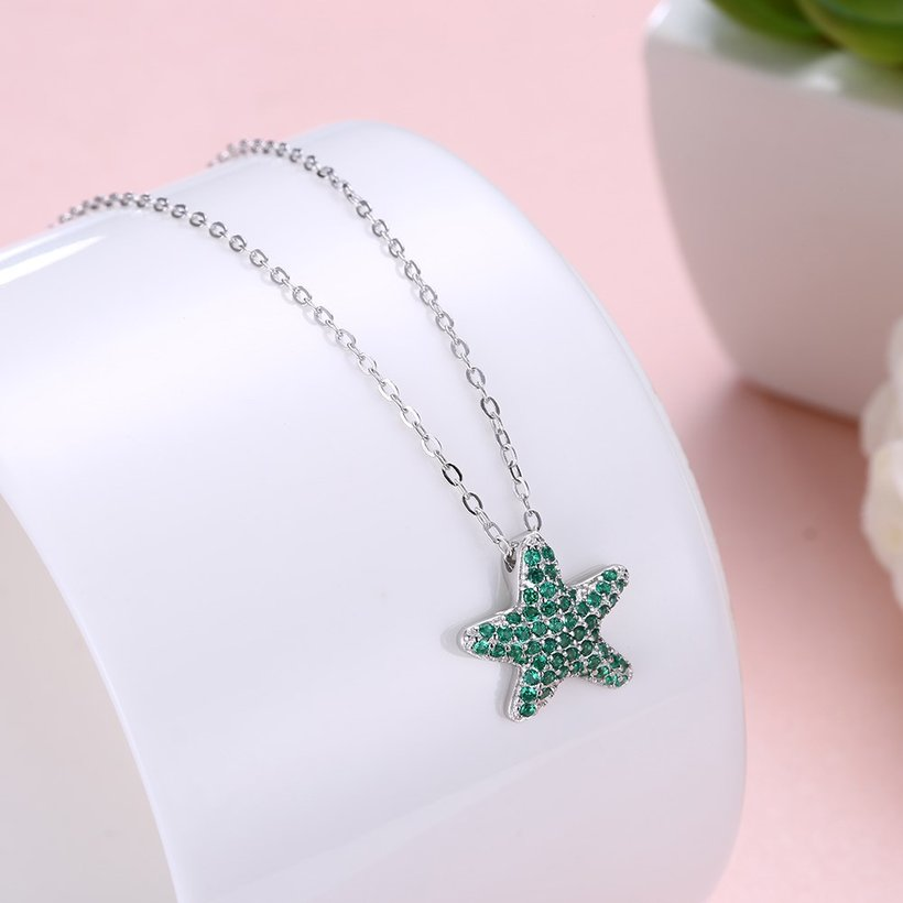 Wholesale Starfish Creative pure S925 Sterling Silver pandent Necklace TGSSN046 1