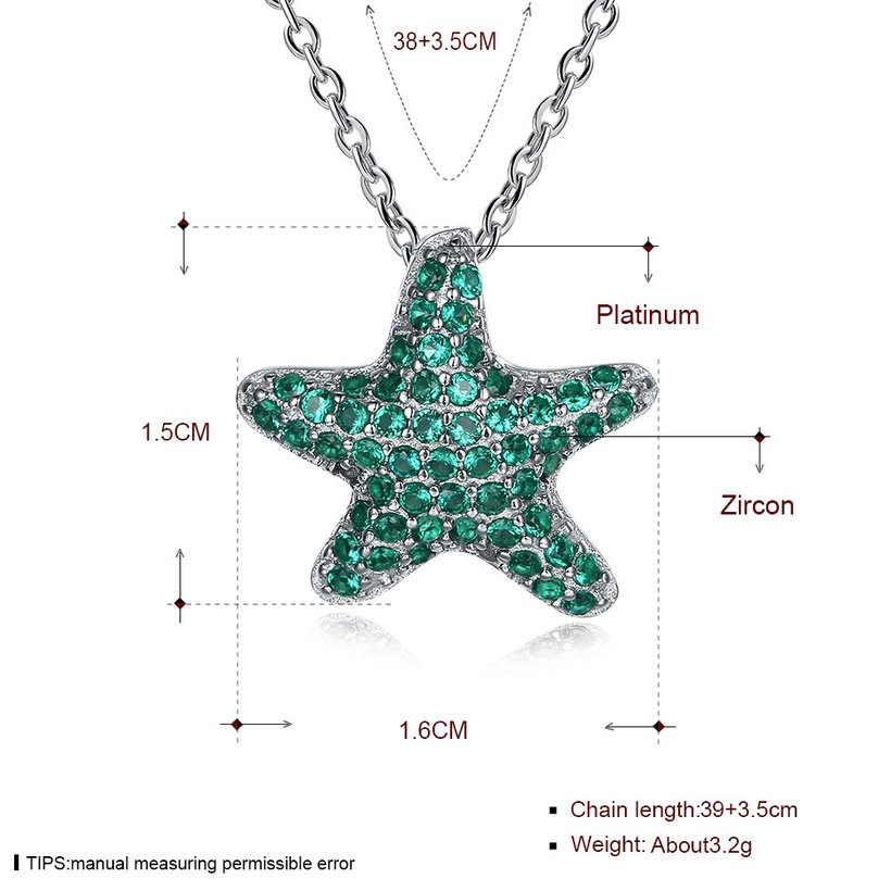 Wholesale Starfish Creative pure S925 Sterling Silver pandent Necklace TGSSN046 2