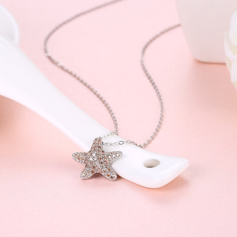 Wholesale Starfish Creative pure S925 Sterling Silver pandent Necklace TGSSN046 3