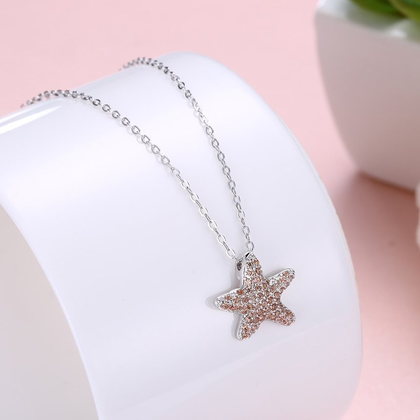 Wholesale Starfish Creative pure S925 Sterling Silver pandent Necklace TGSSN046 4