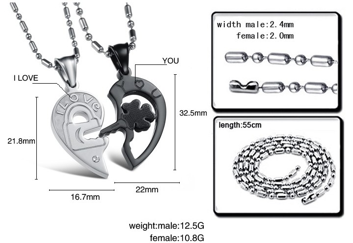 Wholesale The best gifts stainless steel couples Necklacepair TGSTN029 6
