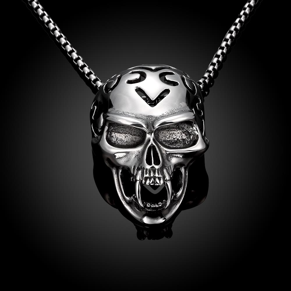 Wholesale Rock 316L stainless steel Skeleton Necklace TGSTN081 0