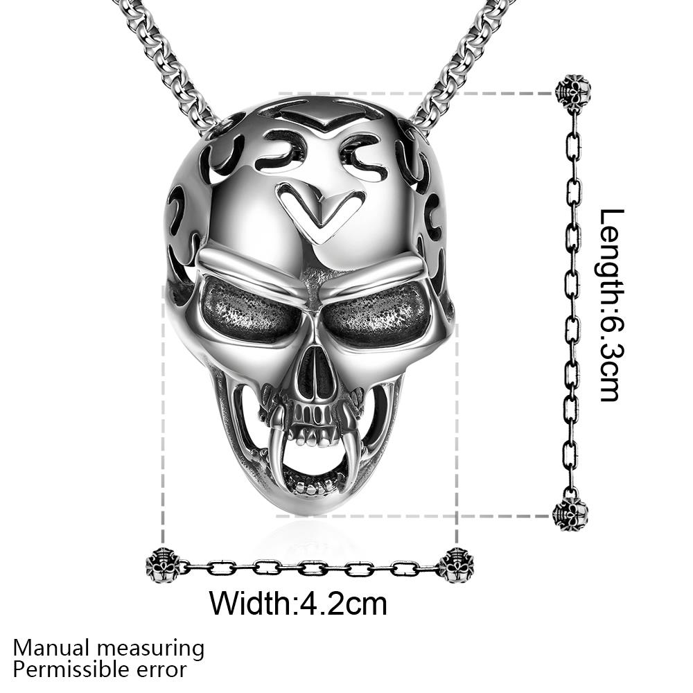 Wholesale Rock 316L stainless steel Skeleton Necklace TGSTN081 1