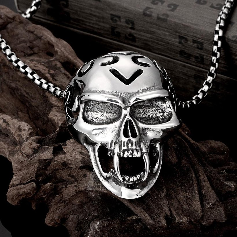 Wholesale Rock 316L stainless steel Skeleton Necklace TGSTN081 2
