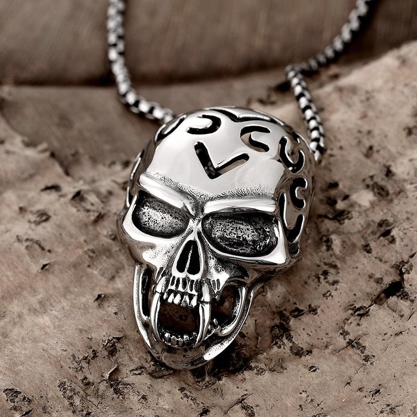 Wholesale Rock 316L stainless steel Skeleton Necklace TGSTN081 3