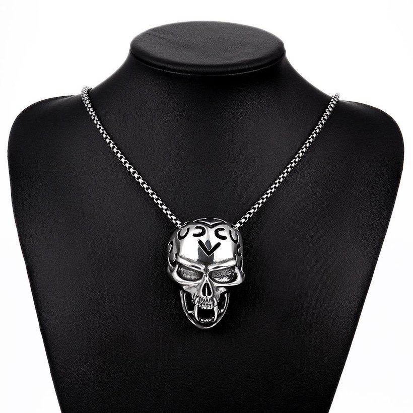Wholesale Rock 316L stainless steel Skeleton Necklace TGSTN081 4