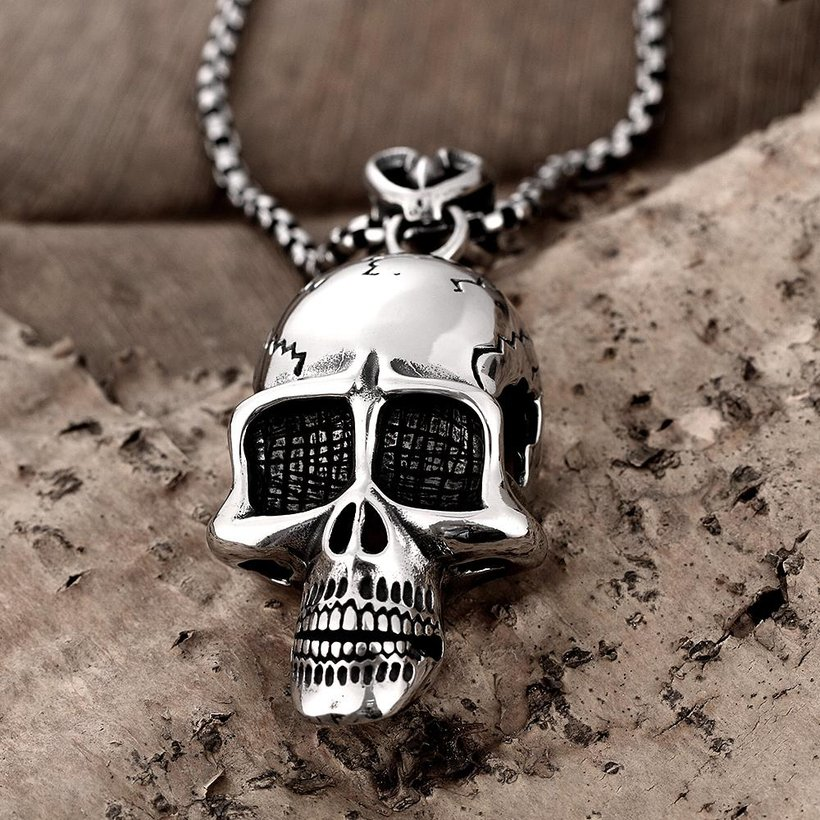 Wholesale Punk 316L stainless steel Skeleton Necklace TGSTN098 3