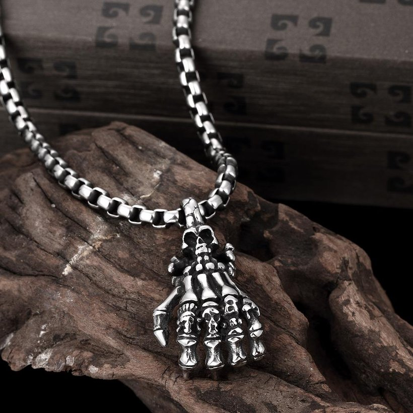 Wholesale Rock 316L stainless steel Skeleton Necklace TGSTN107 2