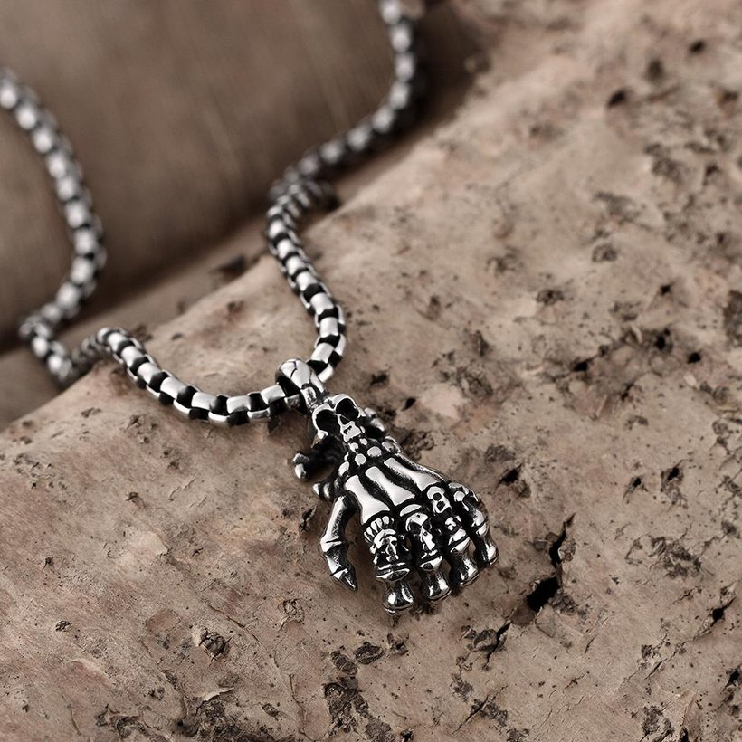 Wholesale Rock 316L stainless steel Skeleton Necklace TGSTN107 3
