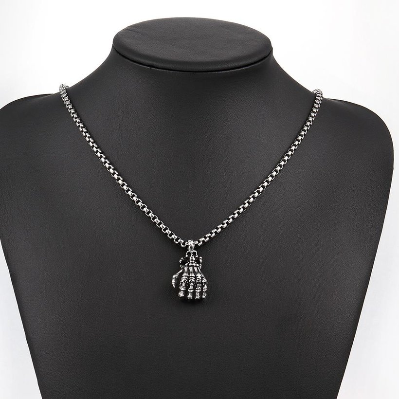 Wholesale Rock 316L stainless steel Skeleton Necklace TGSTN107 4