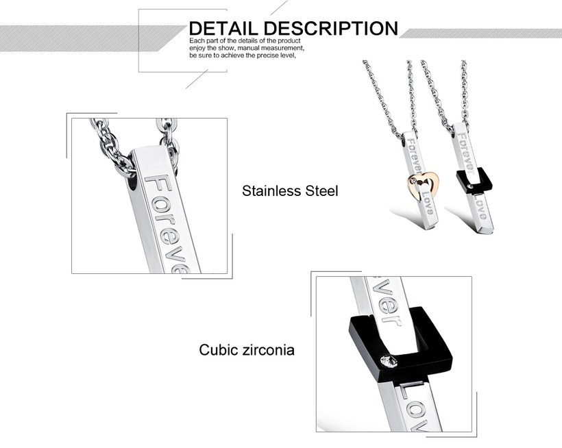 Wholesale New Style Fashion Stainless Steel Couples necklaceLovers TGSTN022 2