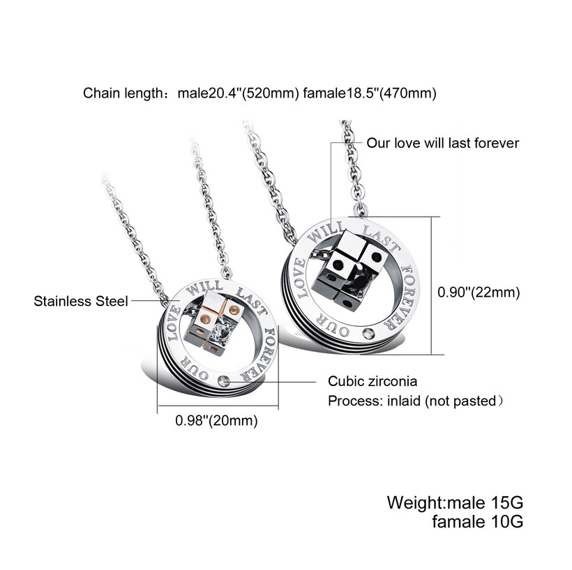 Wholesale New Style Fashion Stainless Steel Couples necklaceLovers TGSTN023 1