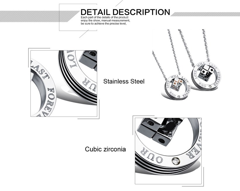 Wholesale New Style Fashion Stainless Steel Couples necklaceLovers TGSTN023 2