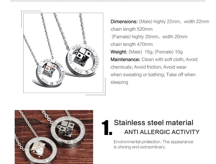 Wholesale New Style Fashion Stainless Steel Couples necklaceLovers TGSTN023 3