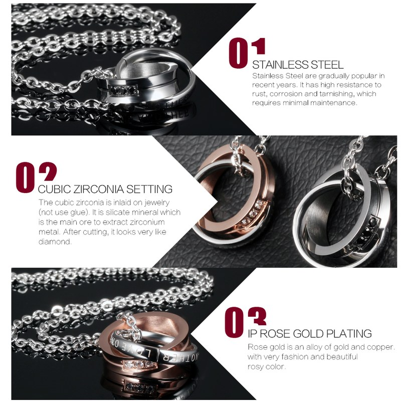 Wholesale Fashion Stainless Steel Couples necklaceLovers TGSTN007 2