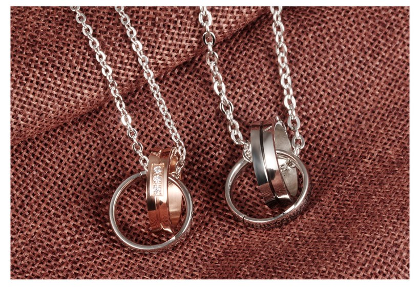 Wholesale Fashion Stainless Steel Couples necklaceLovers TGSTN007 4