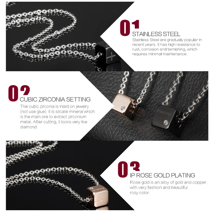 Wholesale Fashion Stainless Steel Couples necklaceLovers TGSTN008 2