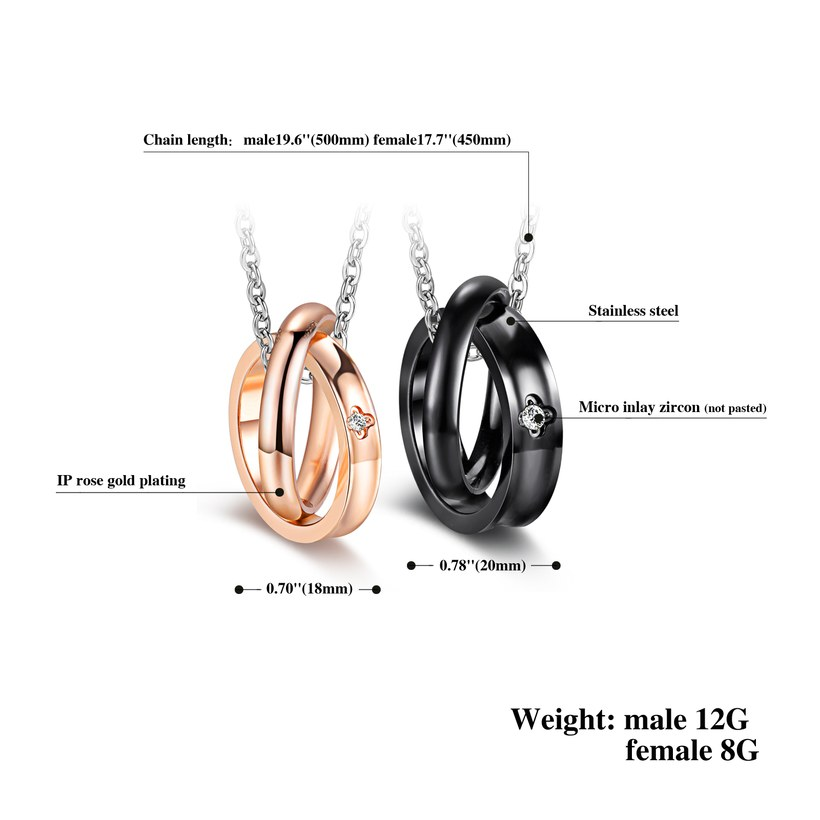 Wholesale Fashion Stainless Steel Couples necklaceLovers TGSTN009 1