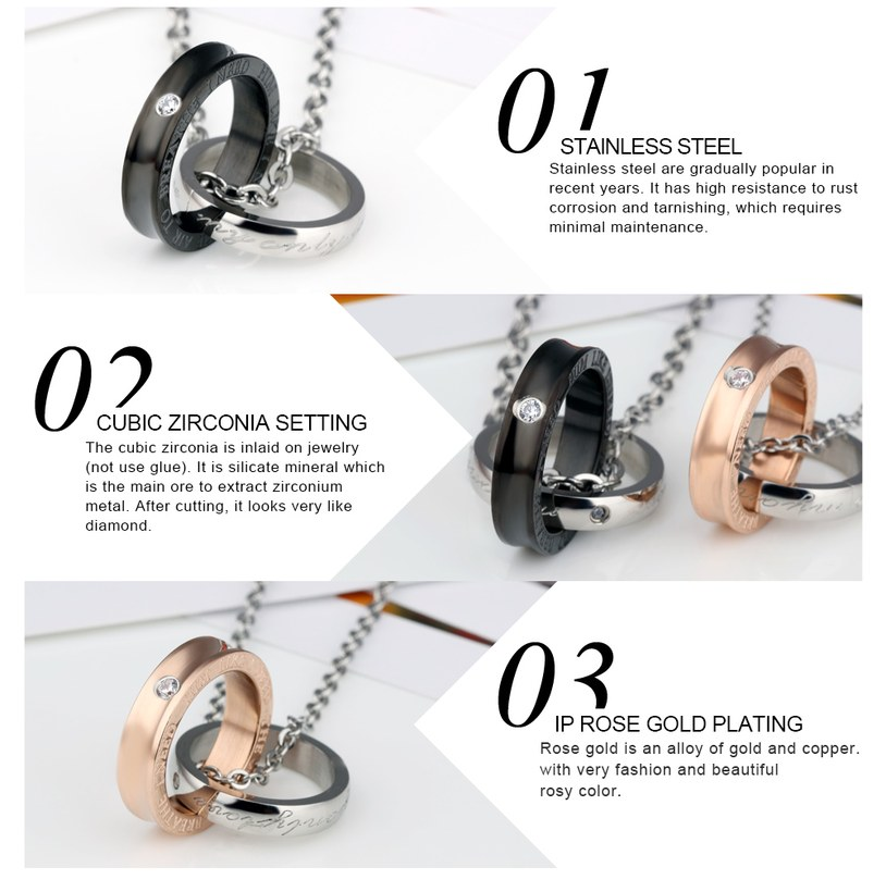 Wholesale New Fashion Stainless Steel Couples necklaceLovers TGSTN012 2