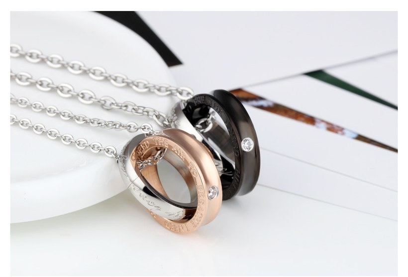 Wholesale New Fashion Stainless Steel Couples necklaceLovers TGSTN012 3