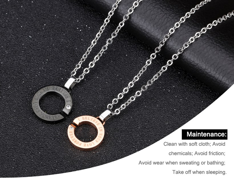 Wholesale New Fashion Stainless Steel Couples necklaceLovers TGSTN002 0