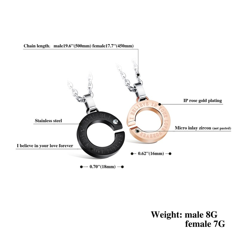 Wholesale New Fashion Stainless Steel Couples necklaceLovers TGSTN002 1
