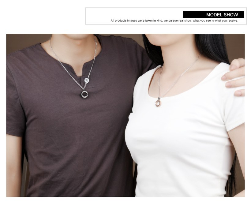 Wholesale New Fashion Stainless Steel Couples necklaceLovers TGSTN002 4