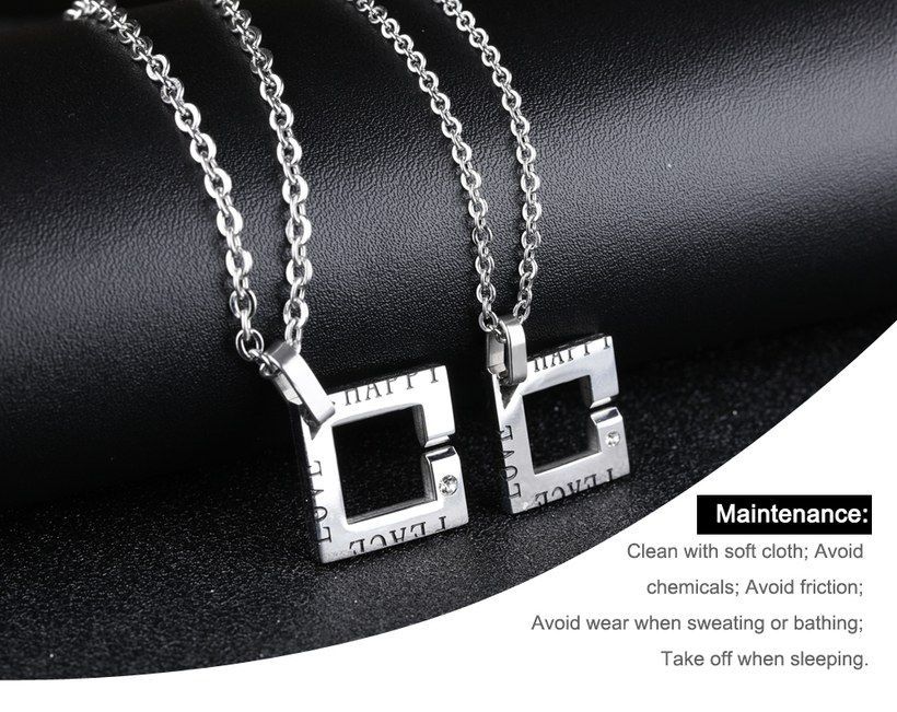 Wholesale New Fashion Stainless Steel Couples necklaceLovers TGSTN014 0