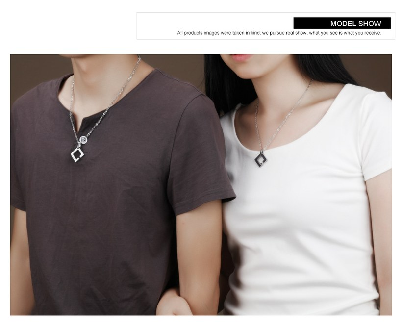 Wholesale New Fashion Stainless Steel Couples necklaceLovers TGSTN014 4