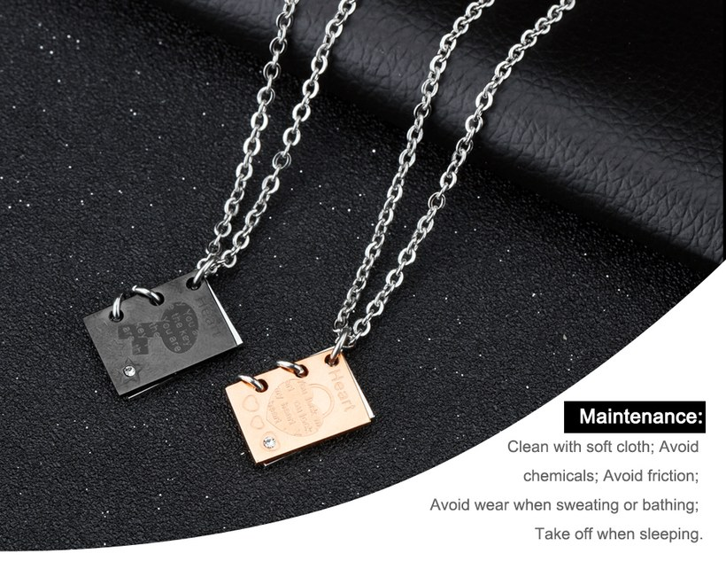 Wholesale New Fashion Stainless Steel Couples necklaceLovers TGSTN003 2