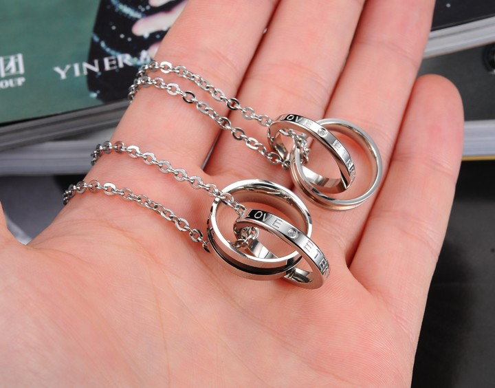 Wholesale Hot selling fashion stainless steel couples Necklace TGSTN063 2