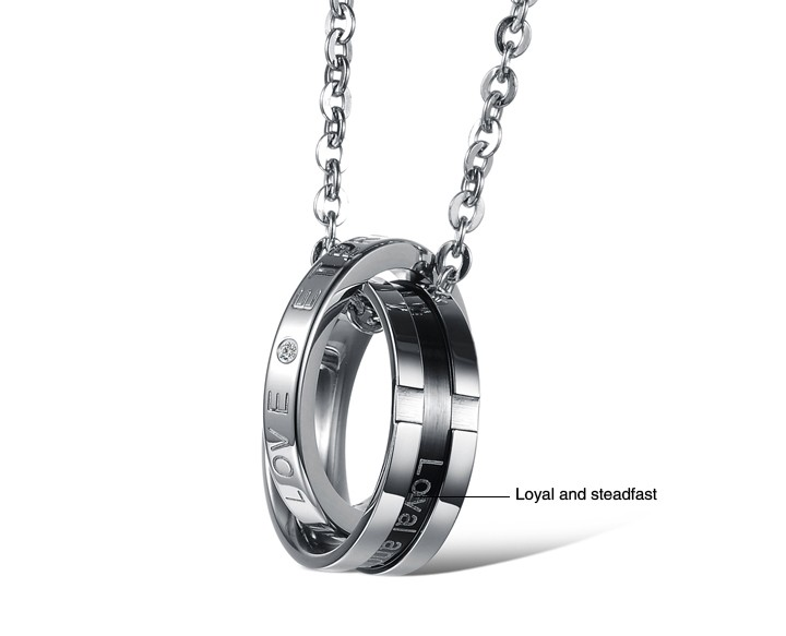 Wholesale Hot selling fashion stainless steel couples Necklace TGSTN063 3