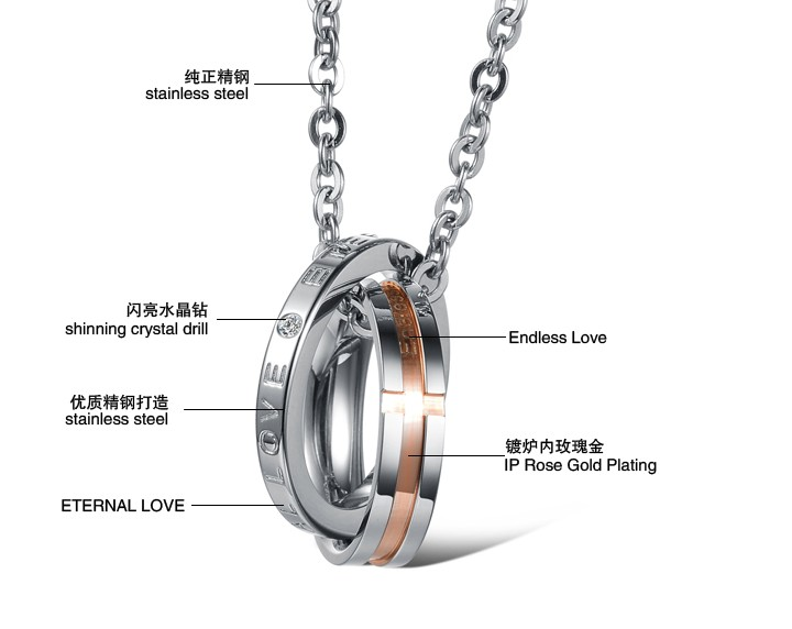 Wholesale Hot selling fashion stainless steel couples Necklace TGSTN063 4