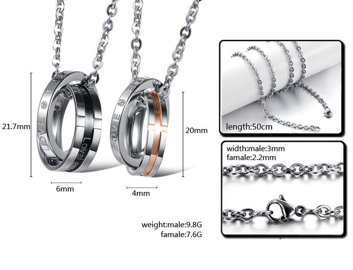 Wholesale Hot selling fashion stainless steel couples Necklace TGSTN063 5