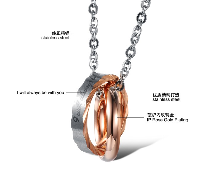 Wholesale Hot selling fashion stainless steel couples Necklace TGSTN064 3