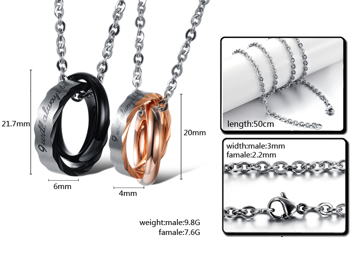 Wholesale Hot selling fashion stainless steel couples Necklace TGSTN064 4