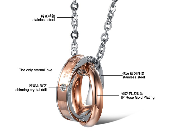 Wholesale Hot selling fashion stainless steel couples Necklace TGSTN124 3