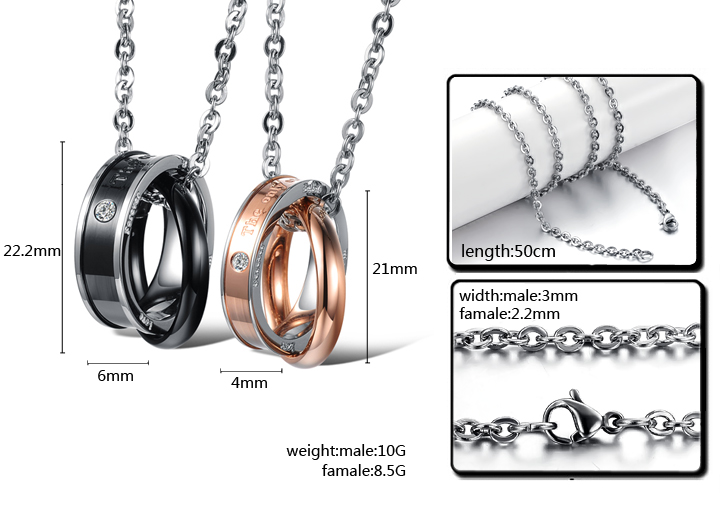 Wholesale Hot selling fashion stainless steel couples Necklace TGSTN124 4