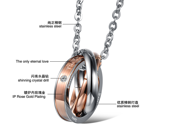 Wholesale Hot selling fashion stainless steel couples Necklace TGSTN125 3